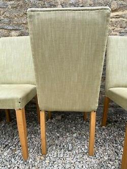 Set of 8 Habitat dining chairs, recovered in green linen with stud detail