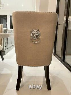 Set of Six Linen Upholstered Highback Lion Knocker Ring Handle Dining Chairs