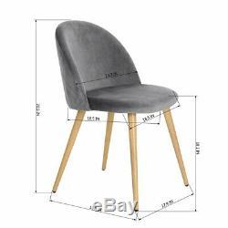 Simple Stylish Dining Chair&Bedroom, Velvet Upholstered, Beech Style Legs, Grey