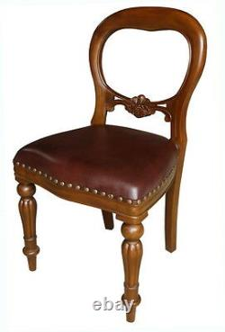 Solid Mahogany Dutch Dining Chair with Brown Leather Balloon Back CHR027B