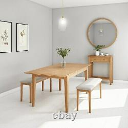 Solid Oak Dining Bench with Cream Upholstered Seat Seats 2 Adeline ADE011