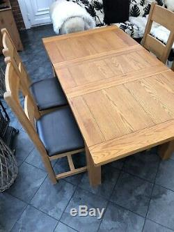 Solid Oak Dining Table and 4 Leather Upholstered Chairs Extendable to 6 Seater