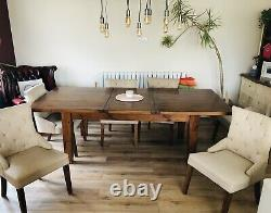 Solid Oak Dining Table and 6 Beige Linen Upholstered Chairs -Table Will Sit 8/10