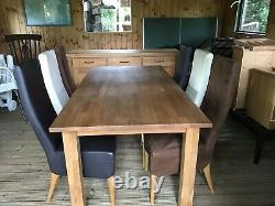 Solid Oak Dining Table, six Leather Upholstered Chairs And Oak Sideboard