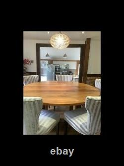 Solid Walnut Round Dining Table with 6 Upholstered Chairs