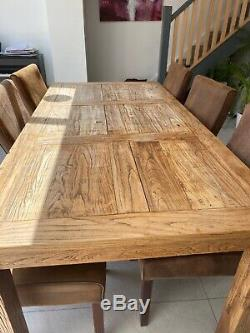Solid wood dining table (reclaimed wood) and 6 soft Leather Upholstered chairs