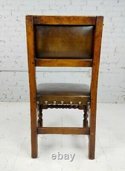 Spanish Revival Brown leather upholstered Dining Chairs-Set of 2