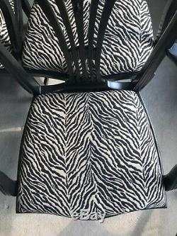 Stunning Set of 8 Black Dining Chairs (2 Carvers) Newly Upholstered