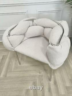 TEDDY KNIT Tub Chair Dining Chair Accent Chair Hugging Upholstered Chrome Legs