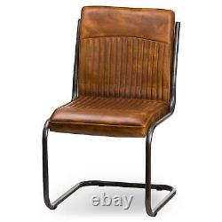 Tan Leather Upholstered Dining Chair Vintage Finish Retro Style
