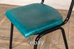 Teal Blue Leather Upholstered Dining Chairs Colourful Cafe Restaurant Kitchen