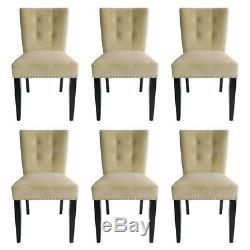 Tufted Velvet Dining Chairs with Knocker Upholstered Wooden Legs Kitchen Chairs