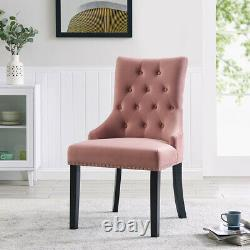 Tufted Velvet Fabric Studded Dining Chair Accent Occasional Upholstered Chair