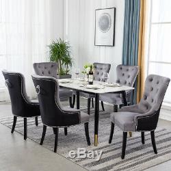 Upholstered 1/2/4x Velvet Dining Room Chair with Ring Knocker Back Kitchen Seat