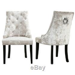 Upholstered 2/4PCS Velvet Dining Chairs Pull Ring Knocker Wingback Studs Chair