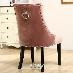 Upholstered 2/4X Knocker Dining Chairs High Back With Pull Ring Buttoned Tufted