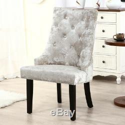 Upholstered 2/4X Velvet Dining Chairs Pull Ring Knocker Nailhead Kitchen Chair