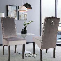 Upholstered 2 or 4 Dining Chairs Knocker Ring Statement Stud Kitchen Seat Velvet