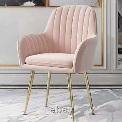 Upholstered Accent Sofa Living Room Armchair Dining Chair Velvet Gold Metal Legs