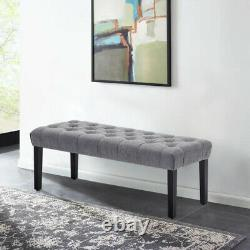 Upholstered Bench Seat Chaise Lounge Chair Bed End Stool Buttoned Dining Hallway