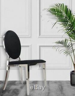 Upholstered Black Velvet Fabric Dining Chair Accent Chair Chrome Legs UK