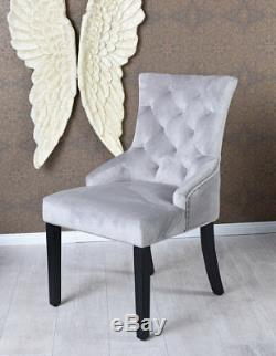 Upholstered Chair with Ring Dining Grey Armchair Retro Kitchen Velvet