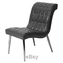 Upholstered Cocktail Soft Leather Armchair Curved Style Chair Chrome Legs Seat