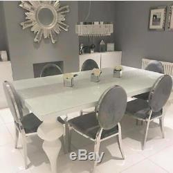 Upholstered Dining Chairs Grey/Champagne/Black Velvet Fabric Chic Chrome Legs UK