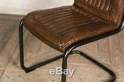 Upholstered Dining Chairs In Vintage Brown Faux Leather Metal Frame