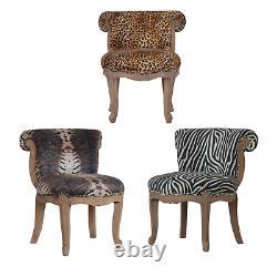 Upholstered Leopard/Zebra/Tiger Animal Print Handcrafted Velvet Chair Home Decor