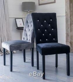 Upholstered Pair Rhinestone Diamante Dining Chairs Black, Grey, Velvet Fabric