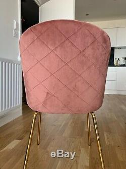 Upholstered Pink Dining Chair With Brass Legs(Set of 4, can also be bought in 2)