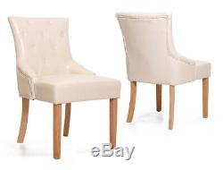 Upholstered Scoop Back Leather Cream Dining Chair with Premium Solid Oak Leg