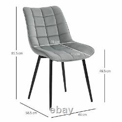 Upholstered Velvet-Touch Fabric Dining Chairs with Metal Legs, Set of 2