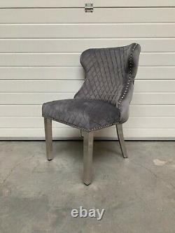 Valentino Luxury Dark Grey Velvet Lion Knocker Button Back Dining Chair