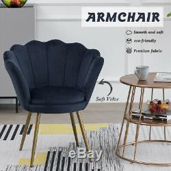 Velvet Accent Armchair Single Lounge Dining Chairs Living Room Lotus Upholstered