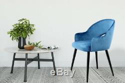 Velvet Chair 2 Dining Chair Upholstered Chair Metallbeine Wood Look Blue
