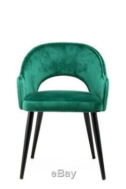 Velvet Chair 2 Dining Chair Upholstered Chair Metallbeine Wood Look Green