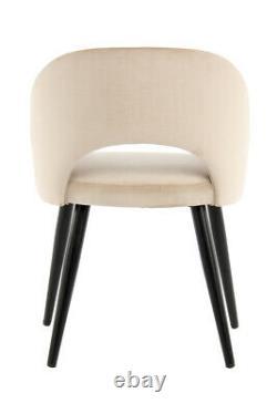 Velvet Chair Cream Beige Armrest 2er Set Upholstered Dining Room With Leaning