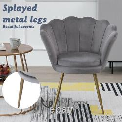 Velvet Dining Chair Oyster Scallop Lounge Armchair Shell Lotus Padded Seat 3Colo