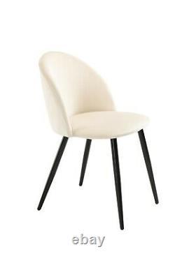 Velvet Dining Chair Set of 4 Cream Luxury Modern Upholstered Dining Room Lotus