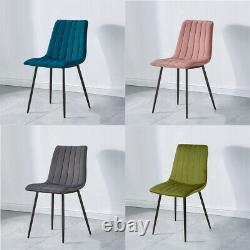 Velvet Dining Chairs Set of 2 Upholstered Seat Kitchen Chairs with Sturdy Metal