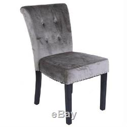 Velvet Dining Chairs with Knocker Upholstered Wooden Chairs Room Home Restaurant