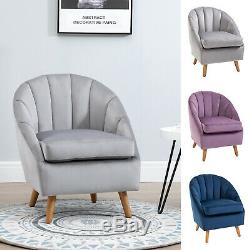 Velvet Fabric Single Sofa Dining Chair Solid Wood Leg For Home Upholstered