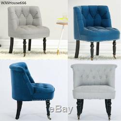 Velvet Linen Button Back Upholstered Tub Bedroom Lounge Chair Dining Living Room