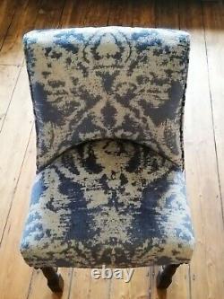 Velvet Re-Upholstered Dining Chairs Kitchen Living Room Animal Print Silver Blue