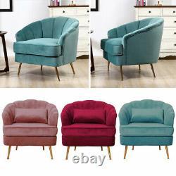 Velvet Upholstered Armchair Scallop Tub Chair Dining Living Bedroom Lounge Sofa