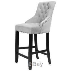 Velvet Upholstered Breakfast Bar Stool Kitchen High Dining Chair 109cm With Back