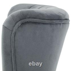 Velvet Upholstered Wing Back Accent Dining Chair Scallop Shell Cocktail Armchair