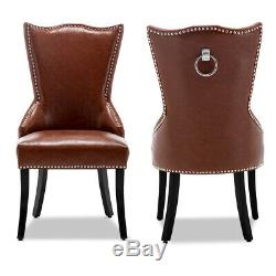 Victoria High Back Upholstered Seat Stools Faux Leather Dining Chairs with Knocker